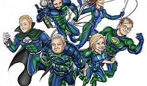 superhero cleaning team